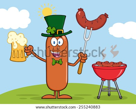 Leprechaun Sausage Cartoon Character Holding A Beer And Weenie Next To BBQ. Raster Illustration  - stock photo