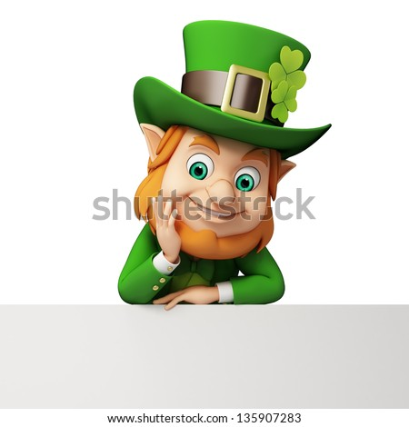 Leprechaun with big sign for st patricks day - stock photo