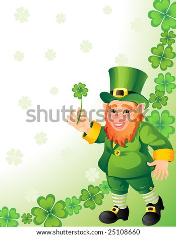 leprechaun with clover in a hand - raster version - stock photo