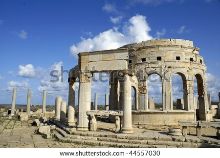 Leptis Magna Market - Libya with architectural details and deep blue sky. - stock photo