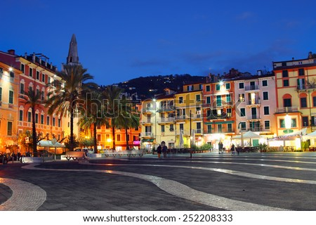LERICI, ITALY - JUNUARY 6, 2015: central square in the night in Lerici, Italy. Lerici is located in Liguria, many people come to visit it castle, bay, and harbor. - stock photo