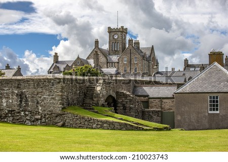 Lerwick, Shetland, Scotland, United Kingdom. View of the old Lerwick, Town Hall, Shetland, Scotland. Builded in 1884. - stock photo