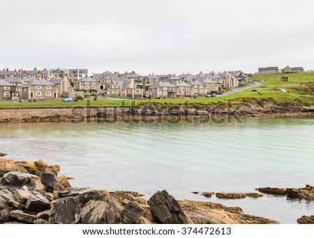 Lerwick View.  A view of Lerwick the main port in the Shetland Isles, Scotland. - stock photo