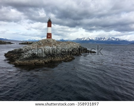 Les Eclaireurs Lighthouse in the Beagle Channel, Argentina - stock photo