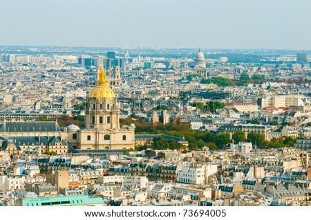 Les invalides - Aerial view of Paris. - stock photo