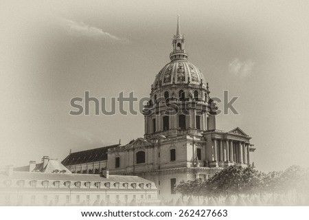 Les Invalides (National Residence of Invalids) - complex of military history museum of France and tomb of Napoleon Bonaparte. At 1860, Napoleon's remains bury in here. Paris. Antique vintage.  - stock photo