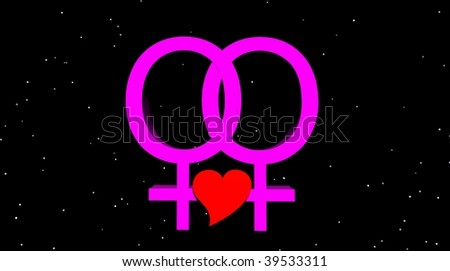 Lesbian couple holding red heart in the night - stock photo