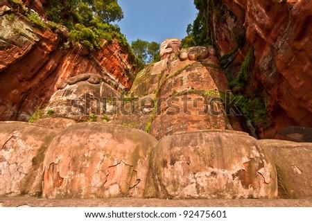 Leshan Buddha view - stock photo