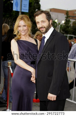 """Leslie Mann and Judd Apatow attend Los Angeles Premiere of """"Knocked Up"""" held at the Mann Village Theatre in Westwood, California, on May 21, 2007.  - stock photo"""