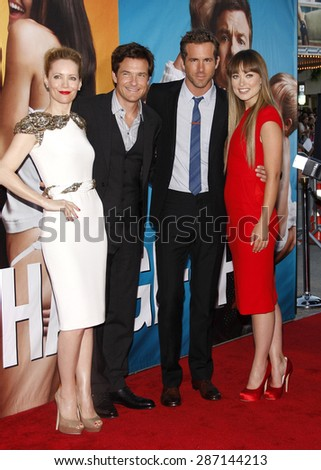 Leslie Mann, Jason Bateman, Ryan Reynolds and Olivia Wilde at the Los Angeles premiere of 'The Change-Up' held at the Regency Village Theatre in Westwood on August 1, 2011.  - stock photo