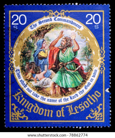 LESOTHO - CIRCA 1988: A 20-cent stamp printed in the Kingdom of Lesotho shows the second commandment, circa 1988 - stock photo