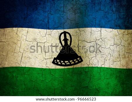 Lesotho flag on a cracked grunge background - stock photo