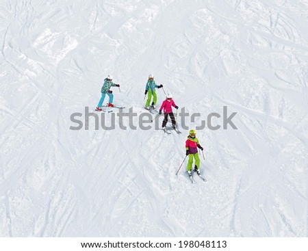 Lessons in the children ski school in Penken area - Mayrhofen, Austria - stock photo