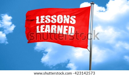 lessons learned, 3D rendering, a red waving flag - stock photo