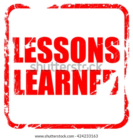 lessons learned, red rubber stamp with grunge edges - stock photo