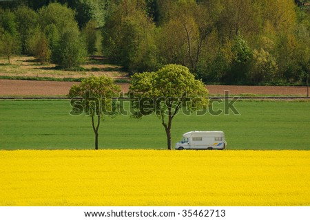 Let's go with a camper - stock photo