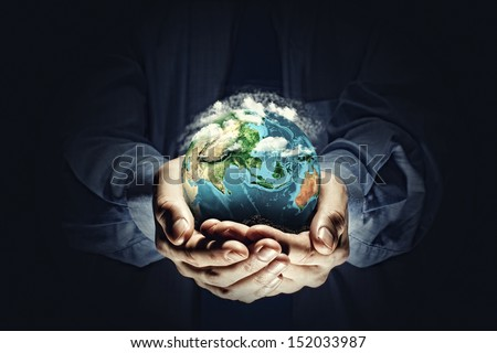 Let's save our planet earth. Ecology concept. Elements of this image are furnished by NASA - stock photo