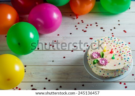Let's start birthday party with cake - stock photo