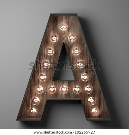 Letter A for sign with light bulbs - stock photo