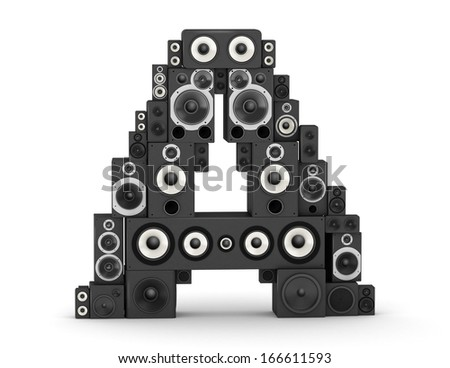 Letter A from black hi-fi speakers sound systems - stock photo
