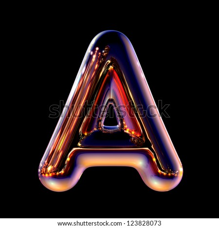 Letter A from chrome night city alphabet isolated on black - stock photo