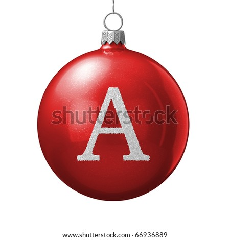 Letter A from cristmas ball alphabet. There is a clipping path - stock photo