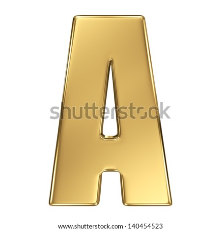 Letter A from gold solid alphabet. - stock photo