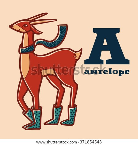 Letter a. Part of animals alphabet. Cartoon antelope wearing boots ang scarf. - stock photo