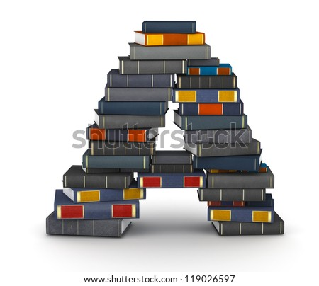 Letter A, stacked from many encyclopedia books in pile - stock photo