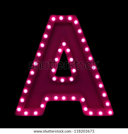 letter A with neon lights isolated on black background - stock photo