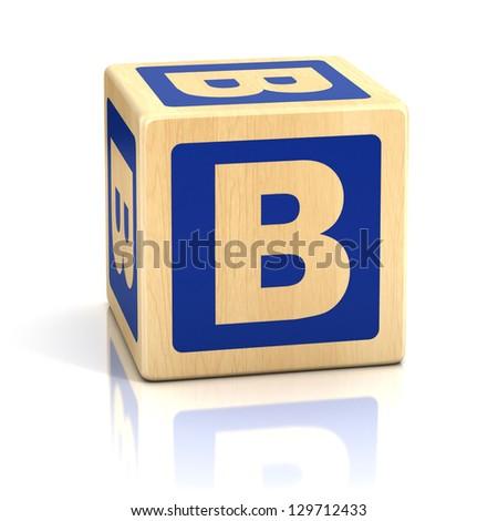 letter b alphabet cubes font - stock photo