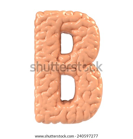 Letter B. Brain alphabet isolated on white background.Brain font.  - stock photo