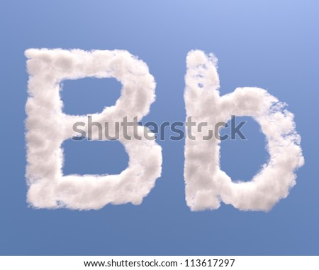 Letter B cloud shape, isolated on white background - stock photo