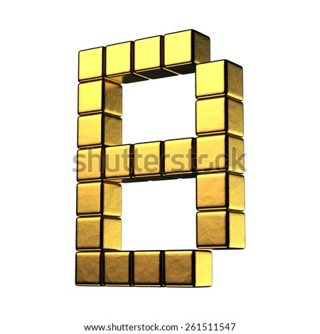 Letter B from big cube gold perspective alphabet. There is a clipping path - stock photo