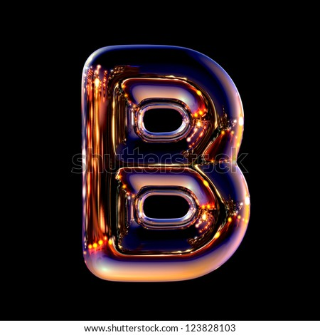 Letter B from chrome night city alphabet isolated on black - stock photo