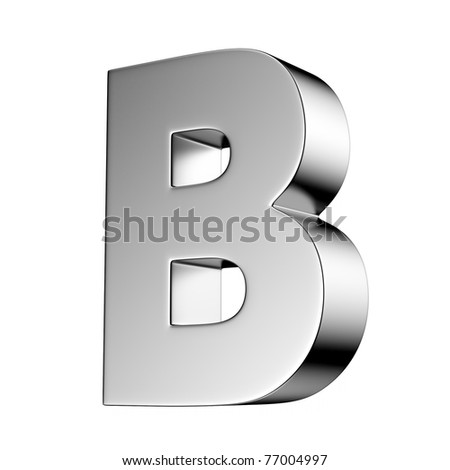 Letter B from chrome solid alphabet. There is a clipping path - stock photo