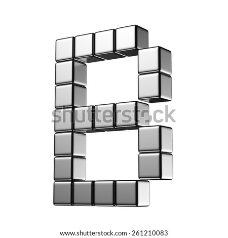Letter B from digital cube middle perspective alphabet. There is a clipping path - stock photo
