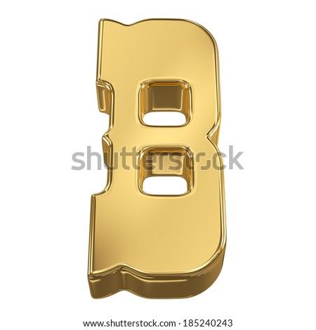 Letter B from gold solid alphabet, tilt 30 degrees, render - stock photo