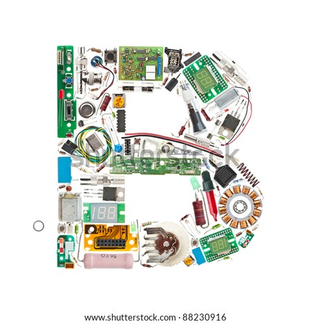Letter 'B' made of electronic components isolated in white background - stock photo