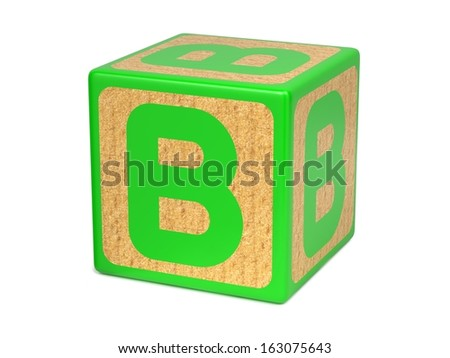 Letter B on Green Wooden Childrens Alphabet Block  Isolated on White. Educational Concept. - stock photo