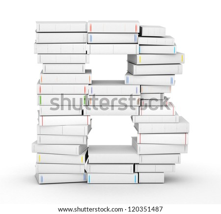 Letter B, stacked from many blank title books in column - stock photo