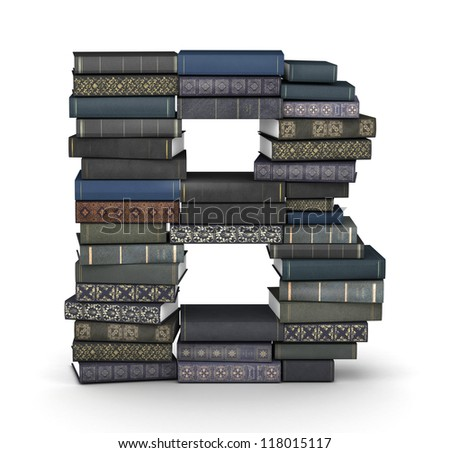 Letter B, stacked from many  books in pile - stock photo