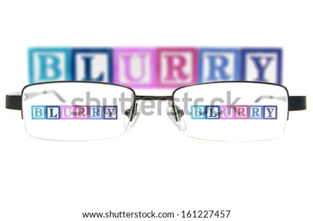 Letter blocks spelling blurry through glasses. Isolated on white - stock photo