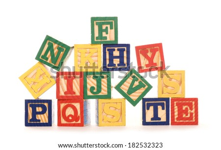 letter building blocks studio cutout - stock photo