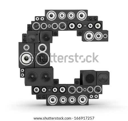 Letter C from black hi-fi speakers sound systems - stock photo