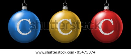 Letter C from cristmas ball alphabet. There is a clipping path - stock photo