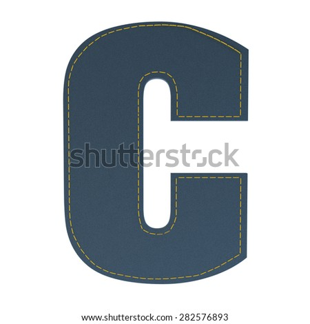 letter C from denim - jeans, on a white background, high specification of fabric, it is stitched by the yellow high-detailed threads - stock photo