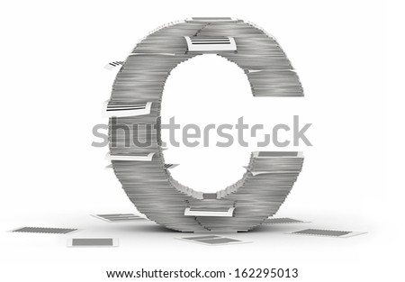 Letter C, from stacks of paper pages font - stock photo