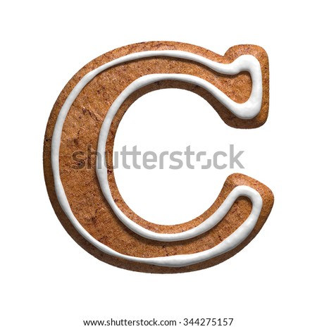 Letter C. Gingerbread font. Christmas cookies alphabet. - stock photo