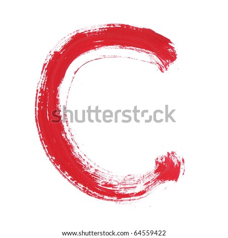 Letter c handwritten paint stroke sketch. Red Isolated on white background. One from collection set. - stock photo